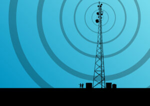 Cell Tower with Blue Gradient Background