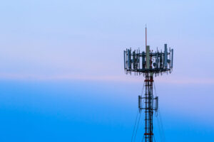 Cell tower with blue background