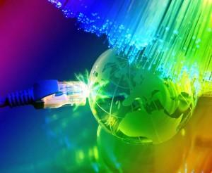 8613601 - technology earth globe against fiber optic background